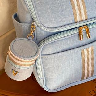 Porta Chupetas Glam Linho Azul Bebê com Fita Listrada Cinza