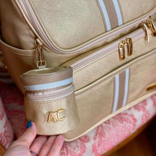 Porta Chupetas Glam Dourado com Fita Listrada Bege