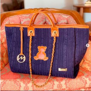Bolsa Maternidade Chloé Candy Tricot Azul Marinho com Caramelo