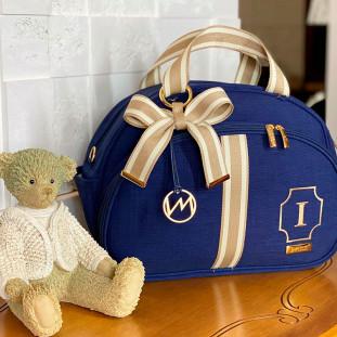 Bolsa Maternidade Média Glam Linho Azul Marinho com Fita Listrada Bege