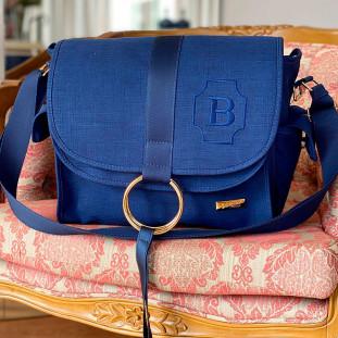 Bolsa Maternidade Louise Glam Linho Azul Marinho com Fita Azul Marinho