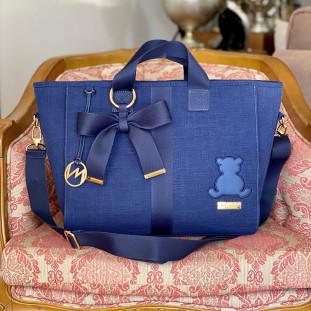 Bolsa Maternidade Chloé Glam Linho Azul Marinho com Fita Azul Marinho