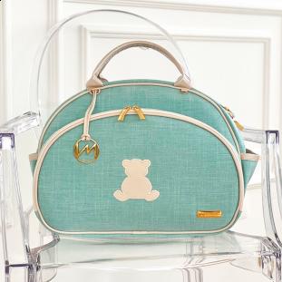 Bolsa Maternidade Média Glam Linho Verde Claro com Bege Claro
