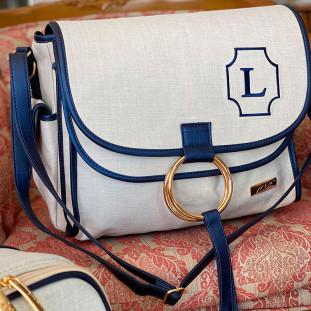 Bolsa Maternidade Louise Linho Bege com Azul Marinho