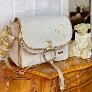 Bolsa Maternidade Louise Linho Bege com Dourado