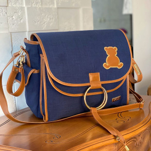 Bolsa Maternidade Louise Linho Azul Marinho com Caramelo