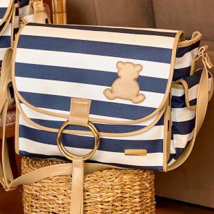 Bolsa Maternidade Louise London Azul Marinho com Bege +