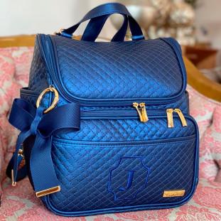 Mochila Maternidade 2 em 1 Master Luxo Azul Marinho