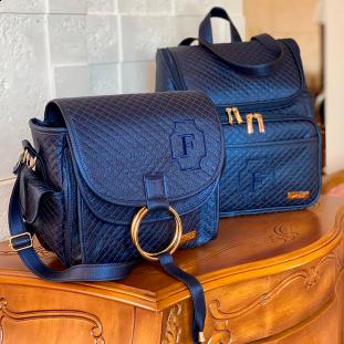 Kit Maternidade Mochila 2 em 1 + Bolsa Louise Mini Master Luxo Azul Marinho