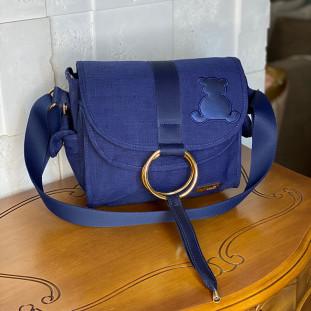 Bolsa Maternidade Louise Mini Glam Linho Azul Marinho com Fita Azul Marinho
