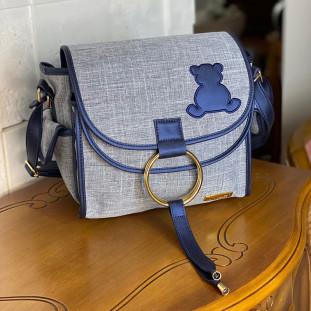 Bolsa Maternidade Louise Mini Linho Cinza com Azul Marinho